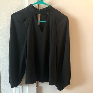 Leith keyhole and poof sleeve blouse